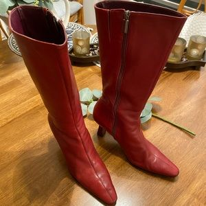 Nine West Red Leather Boot 8.5